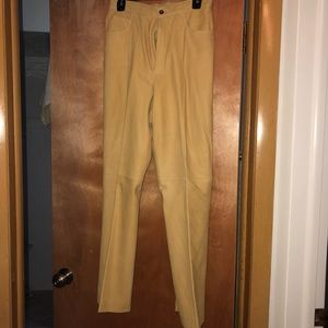Mustard butter suede pants